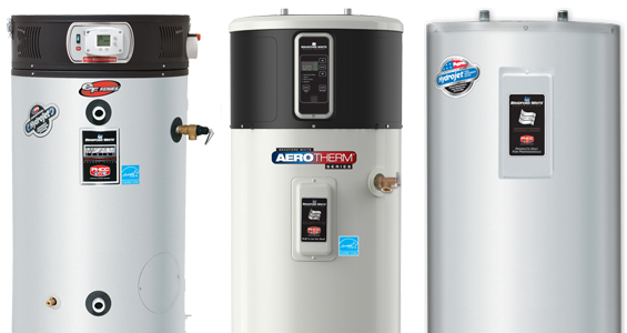 Models of traditional water heaters we carry.